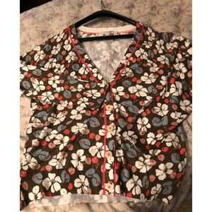 BODEN Floral Cotton Cropped Floral Cardigan Sz 12